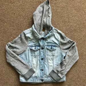 American eagle blue denim jacket vest sweatshirt